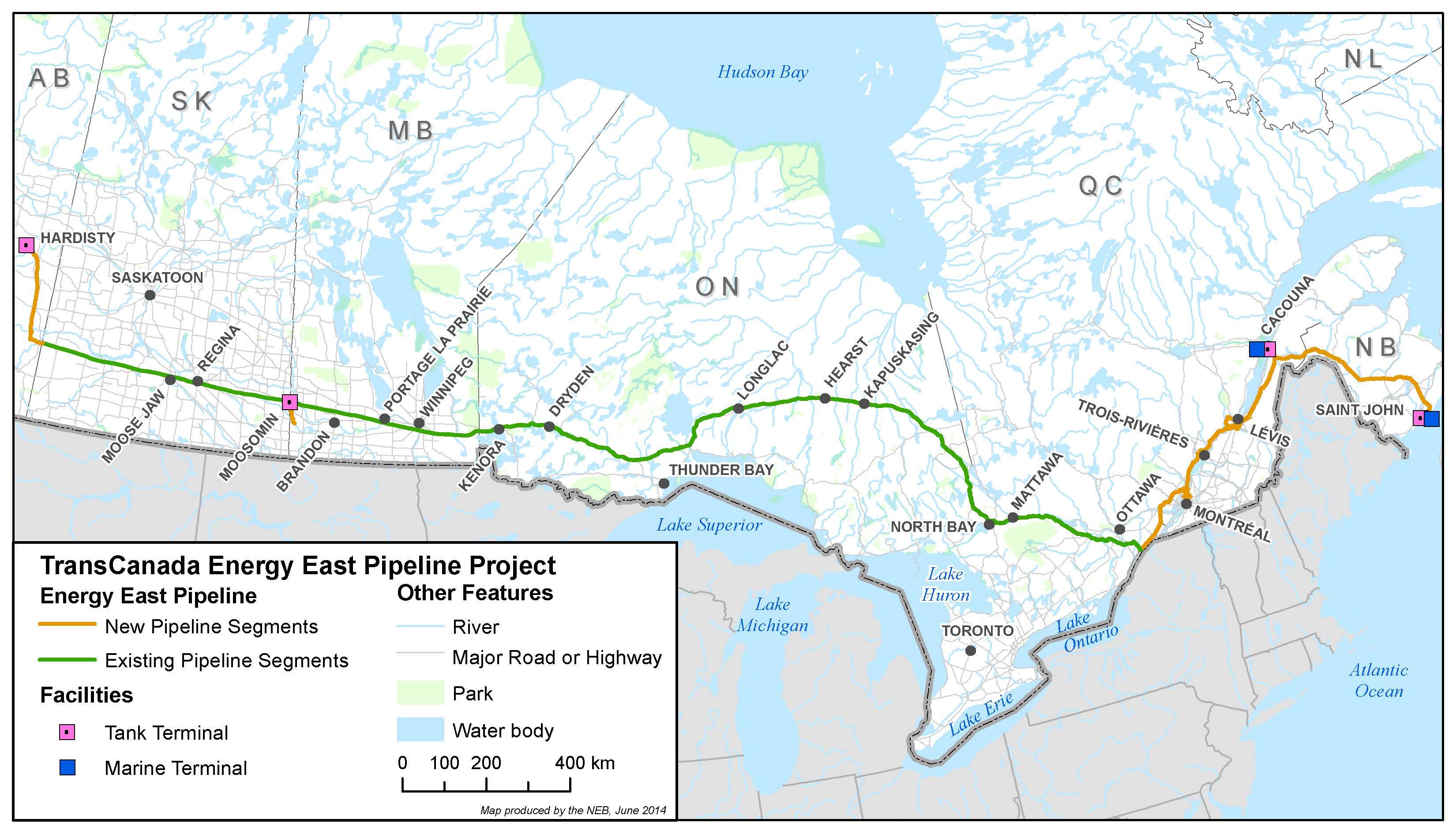 TransCanada Energy East Project Map via NEB