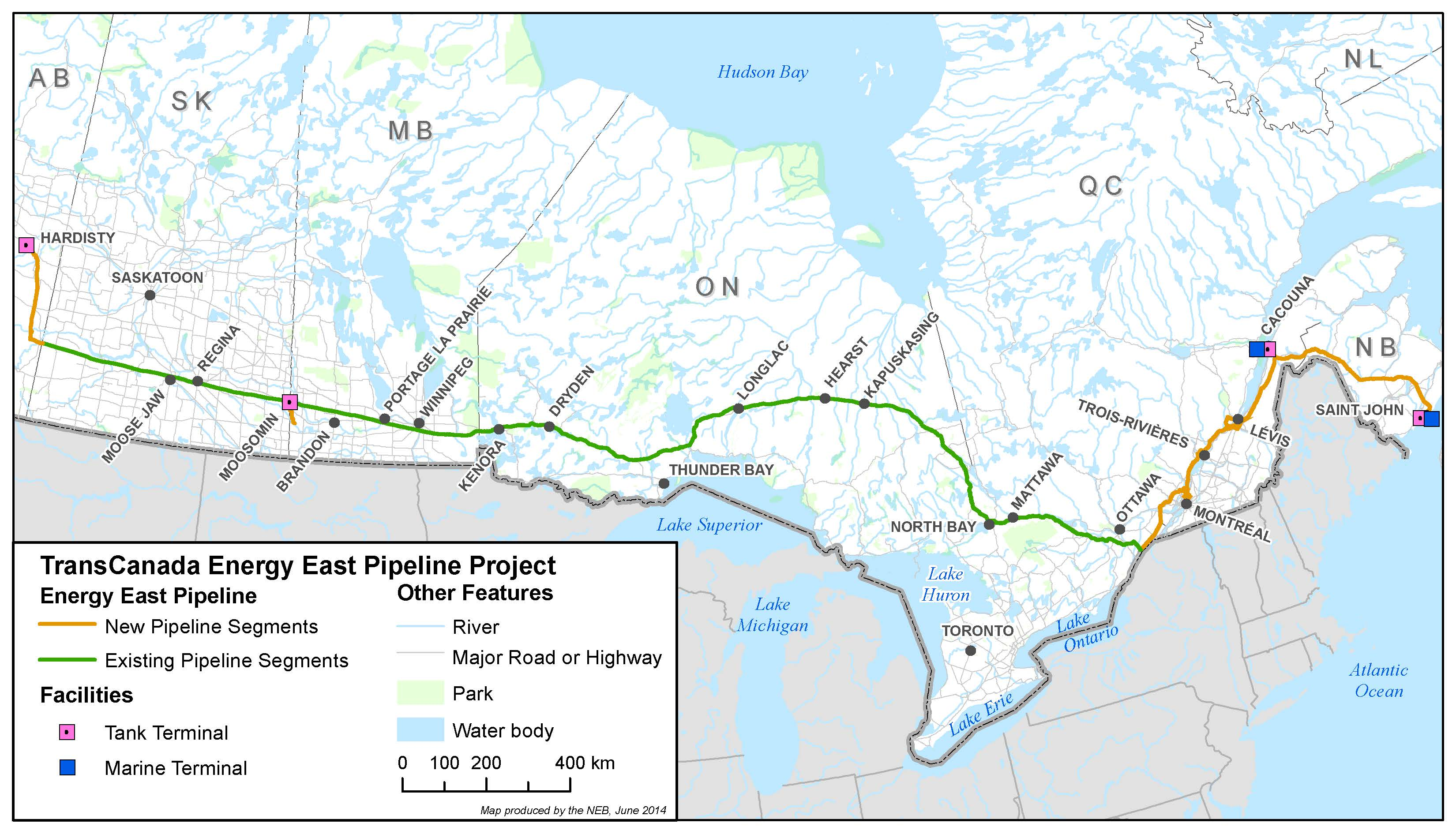 TransCanada Energy East Project Map via NEB