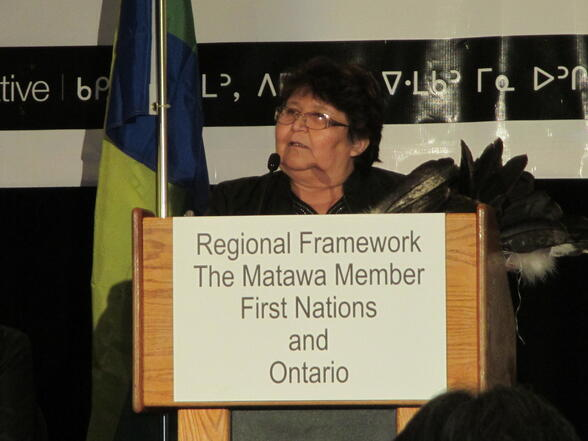 Chief Celia Echum, Ginoogaming First Nation- a community that will be impacted by the proposed pipeline project - speaks at the signing of the historic Regional Framework Agreement signed by Matawa-member First Nations and the Province of Ontario