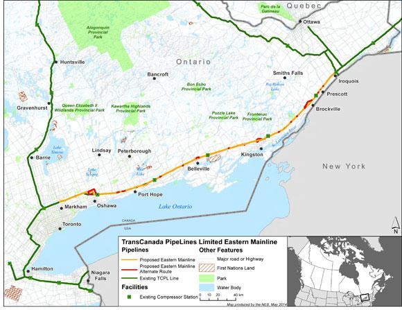 TransCanada Mainline East Project Map via NEB