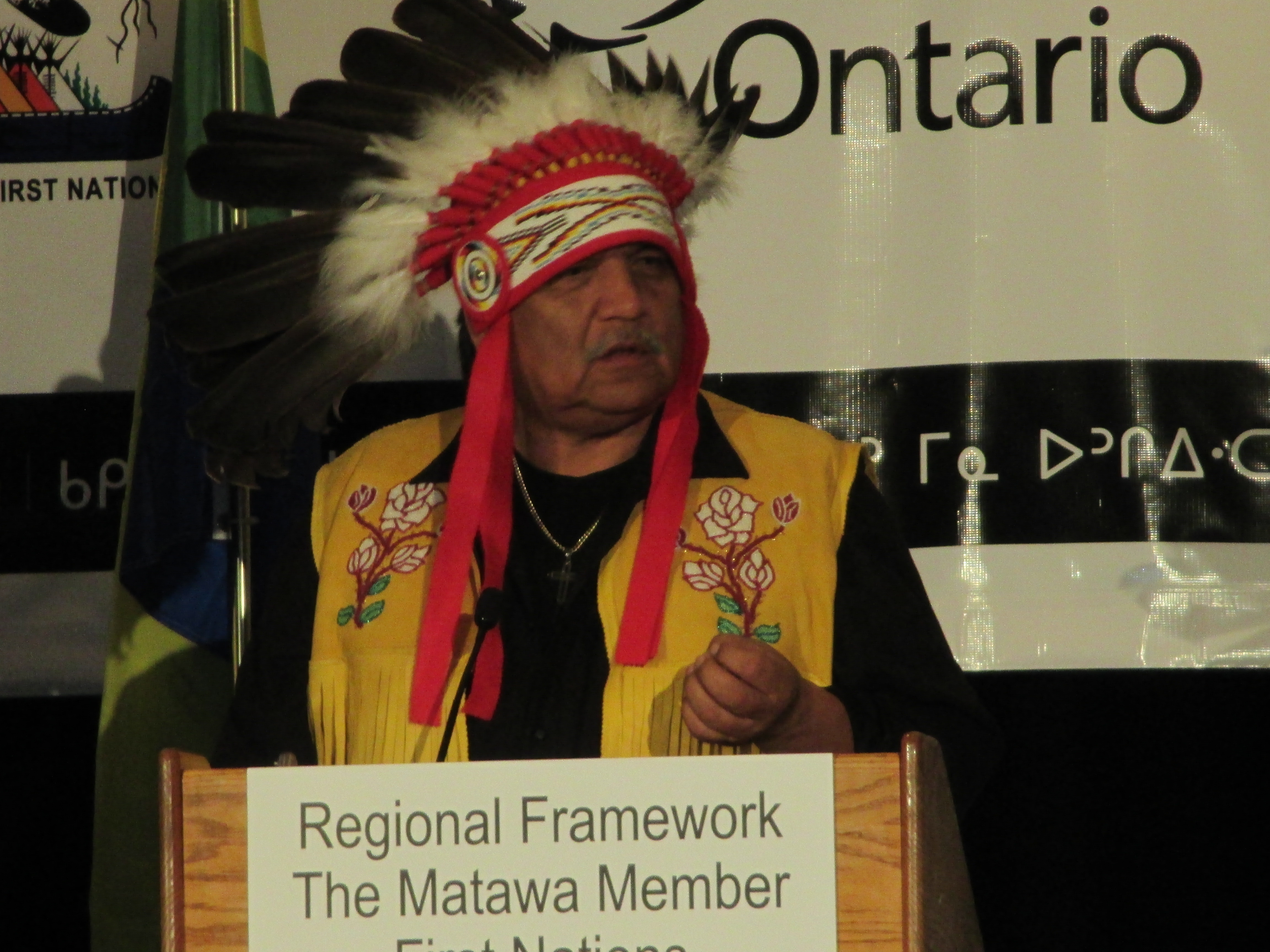 Chief Sonny Gagnon, Aroland First Nation - Speaks at the signing of the historic Regional Framework Agreement signed by Matawa-member First Nations and the Province of Ontario