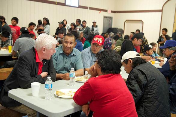 Bob Rae, Lead Negotiator for the Matawa Chiefs Council speakes with First Nation community members about their interests in the Ring of Fire