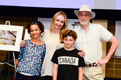 "National Geographic Explorer, Filmmaker and Water Advocate Alexandra Cousteau (2nd from left) with GroundSwell Conference on Groundwater Innovation ""What Water Means to Me"" Photo Contest Winners Alia Krueger & Eamon Hagarty with Simon Bell, Executive Director of Focus on Nature."