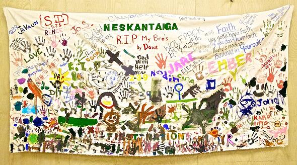 Neskantaga First Nation community created canvas