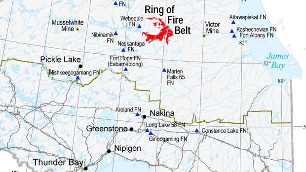 Ring of Fire and First Nations Map - Ring of Fire and Aboriginal Communities