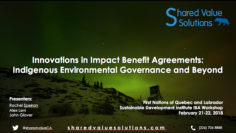 Innovations in Impact Benefit Agreements