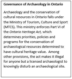Governance of Archaeology in Ontario