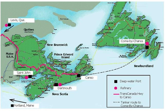 Deep water ports and refineries in the Maritimes