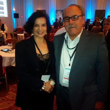 """On July 8, 2015, we had the opportunity to assist Larry Sault, Councillor for the Mississaugas of the New Credit for his """"We Are Stewardship Wariors"""" address to the Climate Summit of the Americas - pictured here with Bianca Jagger,  Senior Fellow with the International Law Research Program, Centre for International Governance Innovation"""
