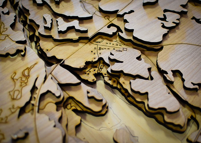 Planning with Maps: First Nation Watershed Map in 3D using wood elevation cutouts