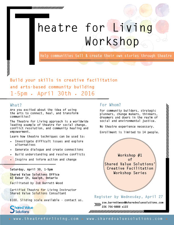 theatre for living workshop april 30